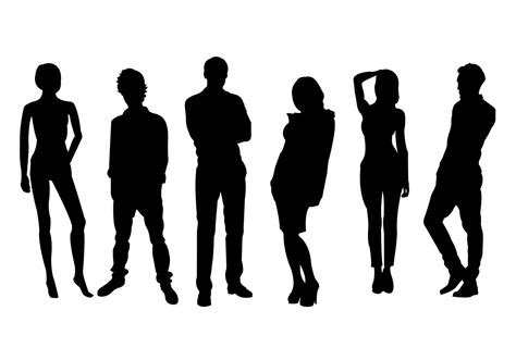 silhouette vector men and women silhouette vector set download free vector