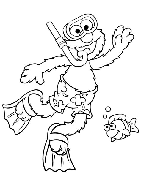 elmo opens birthday present coloring page h m coloring elmo goes snorkeling in summer season coloring page h