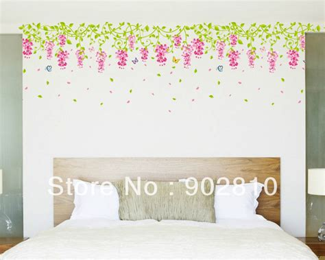 Bedroom Wall Borders Listed In Stock Transparent Pvc Wisteria Sinensis Wall