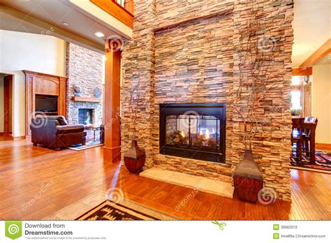 Modern Homes Interiors by Luxury House Interior Stone Wall With Fireplace Stock