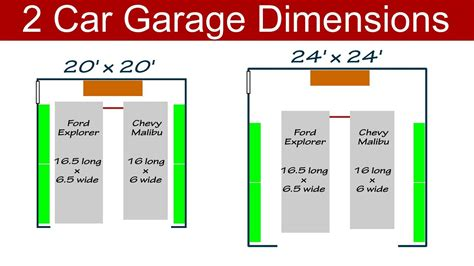 Width 2 Car Garage by Ideal 2 Car Garage Dimensions