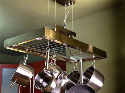 Ceiling Pot Rack With Lights Space Saving Ideas For Room In The Kitchen Diy