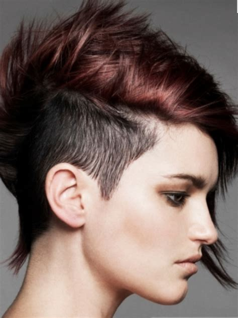hair sides long and short in back trendy punky women hairstyle with extrem short hair length