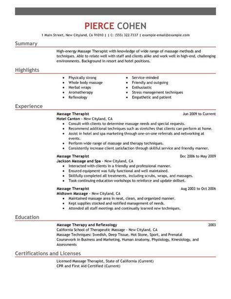 Masseuse Qualifications by 17 Best Ideas About Resume On