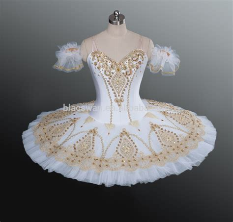 Swan Flower Tutu gold beading embroidered white classical ballet tutu