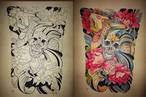tattoo koi fish skull tattoo design japanese koi and skull by xenija88 on