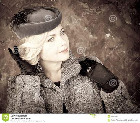 Black Sconce Fashion Woman Portrait Vintage Style Retro Glamour