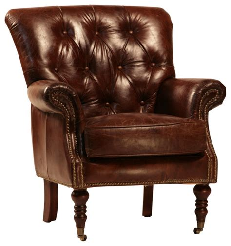 armchair club tufted leather club chair with nail heads and casters