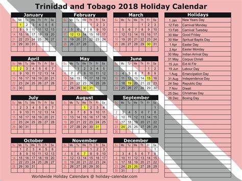 And Tobago Kalendar 2018 And Tobago 2018 2019 Calendar