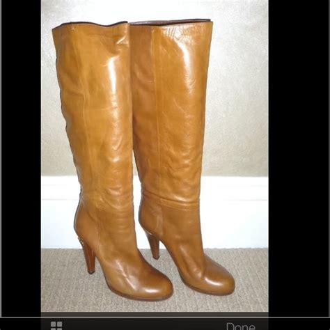 63 gucci shoes gucci camel leather knee high boots