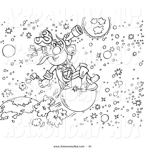 clipart of a black and white astronomer coloring page