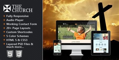 The Church Responsive Site Template Site Templates Themeforest Responsive Church Website Templates