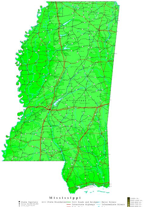map of ms mississippi contour map