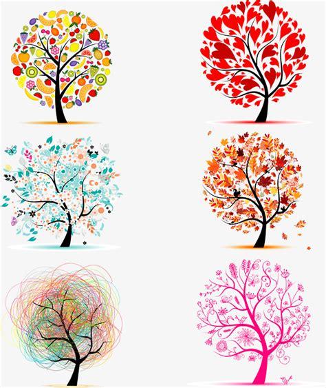 arboles decorativos color de dibujos animados vector creativo arboles