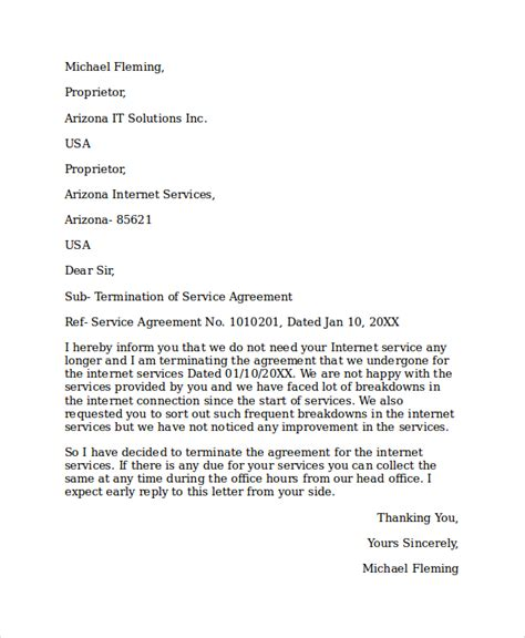 Cancellation Letter Of Service Agreement Sle Service Termination Letter 6 Documents In Pdf Word