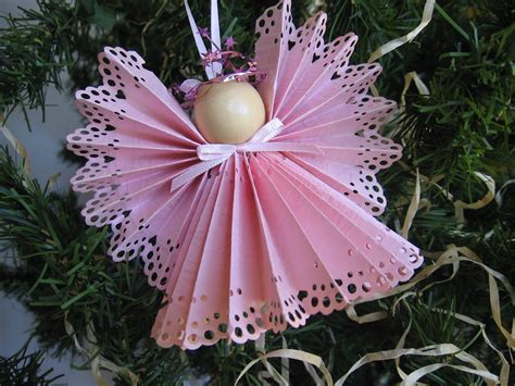 angel christmas tree ornament pink paper lace ribbon angel