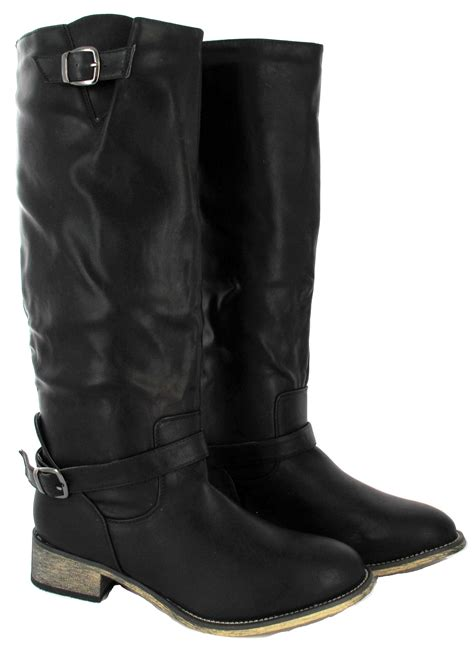 boots for big leg flat sole winter biker style wide calf leg