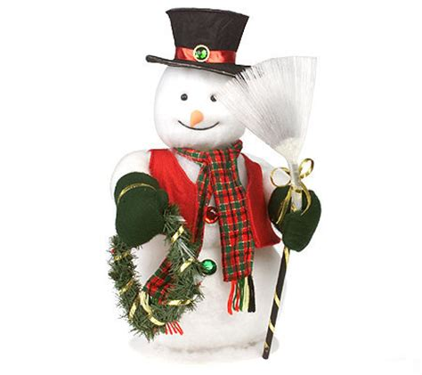 animated fibre optic snowman fiber optic illuminated snowman w broom and wreath h80803 qvc
