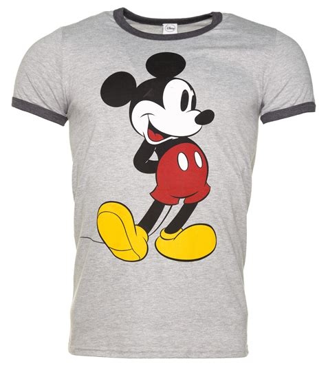 T Shirt Mickey Minnie s grey marl classic mickey mouse disney ringer t shirt