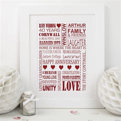 Wedding Anniversary Ruby Ideas by Ruby Wedding Anniversary Print By Designs