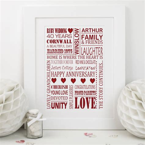 ruby wedding anniversary print by lisa marie designs