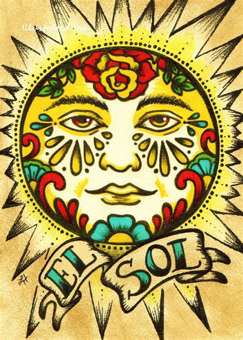 tattoo old school artist mexican folk art sun el sol loteria print 5 x 7 8 x 10 or 11