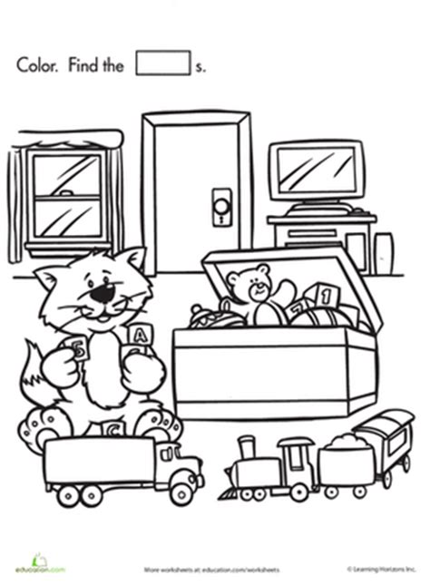 toys coloring pages preschool shape search kitty s toy chest worksheet education com