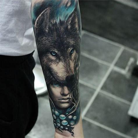 beautiful woman and head of wolf forearm tattoo tattoos