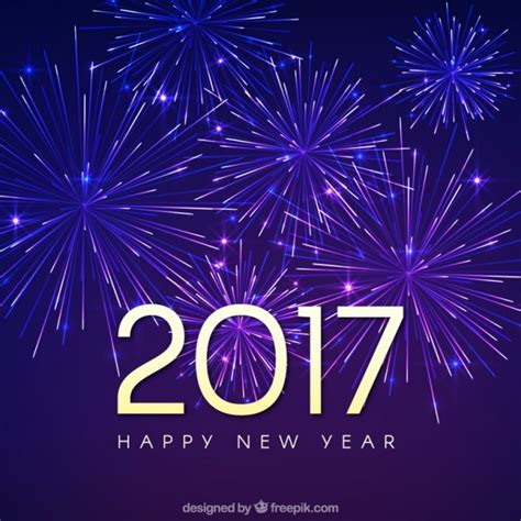 new year of background of happy new year 2017 with fireworks vector