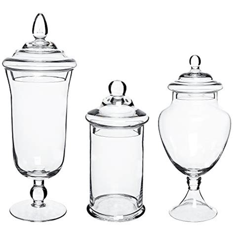 Designer Kitchen Storage Jars Mygift 174 Set Of 3 Clear Glass Apothecary Jars Decorative Kitchen Storage Canisters Wedding