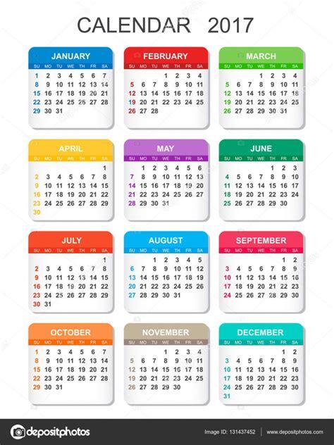 Calendario 2017 A Calendario 2017 En Estilo Vertical Plantilla De Vector De
