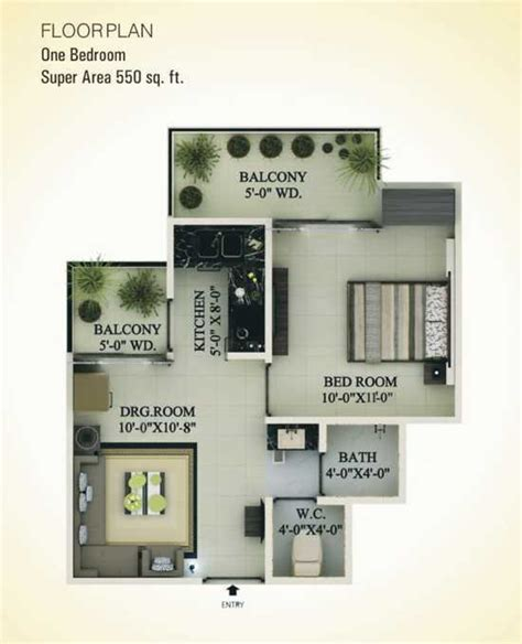 550 sq ft 1 bhk 550 sq ft floor plan