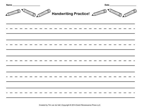 Free Handwriting Practice Paper For Kids Blank Pdf Templates Writing A White Paper Template