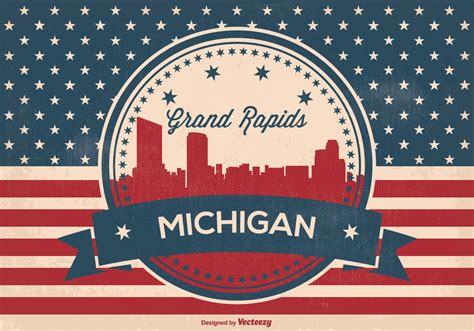 michigan pattern works inc retro grand rapids michigan skyline illustration