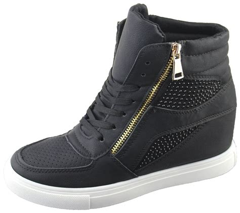 Sneakers Boots Shoes womens diamante wedge heel ankle high top trainers