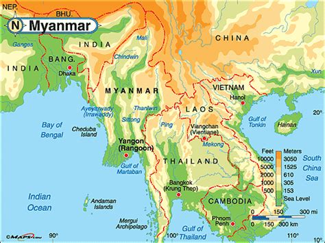 myanmar physical map myanmar physical map by maps from maps world s