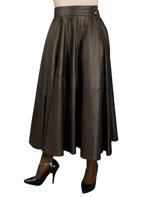 black leather midi skirt black lining tout