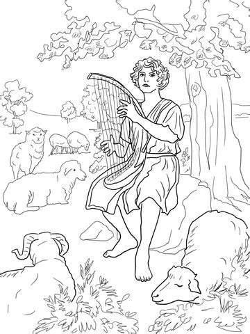 David The Shepherd Coloring Page Supercoloring Com David The Shepherd Boy Coloring Page