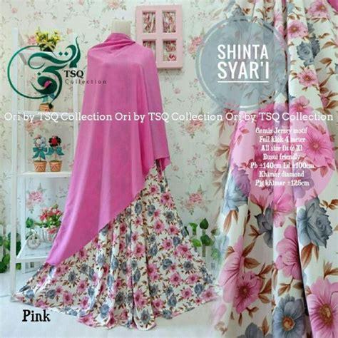 gamis cantik shinta syar i motif bunga baju muslim terbaru