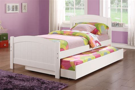 Poundex Youth Bedroom Trundle Bed in White Solid Wood   Huntington Beach Furniture