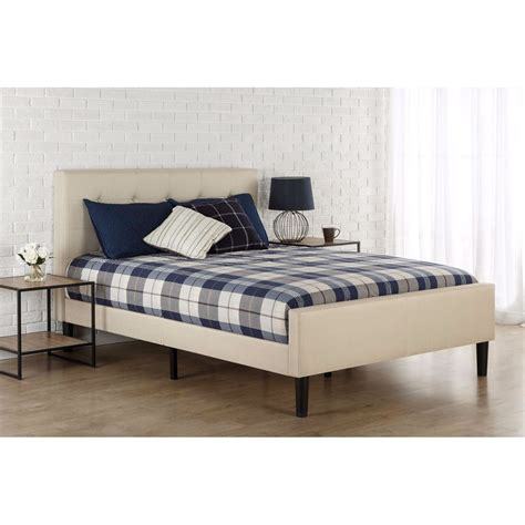 size taupe upholstered bed with button tufted