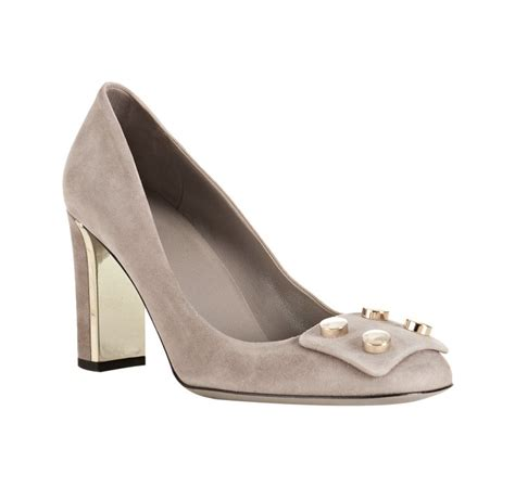 light grey suede pumps lyst gucci light grey suede studded toe pumps in gray