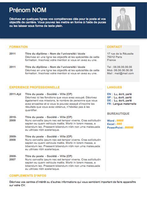Forme De Cv En Francais by Mod 232 Le De Curriculum Vitae Cadre T 233 L 233 Charger
