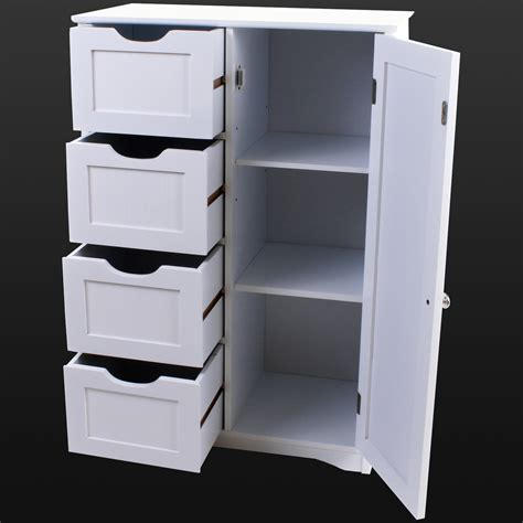 Wood Bathroom Storage Cabinets 4 Drawer Bathroom Cabinet Storage Unit Wooden Chest Cupboard White Door Draw New Ebay