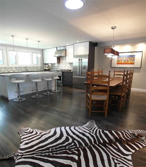 Grey Wood Floors Kitchen Contemporary Kitchen With Hardwood Floors Open To Dining Room Homedizz