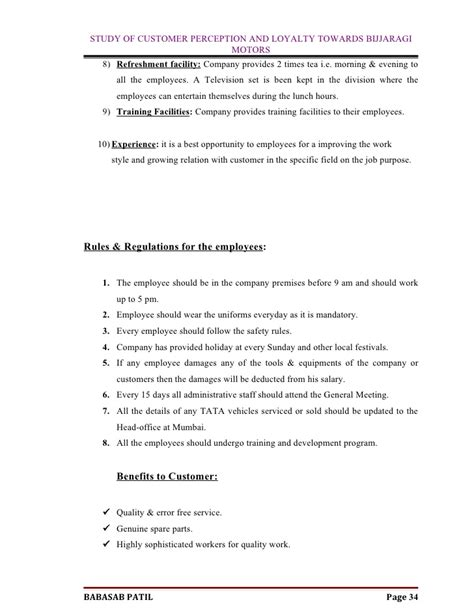 Mba Project Report On Customer Loyalty customer perception bijjaragi motors mba project report