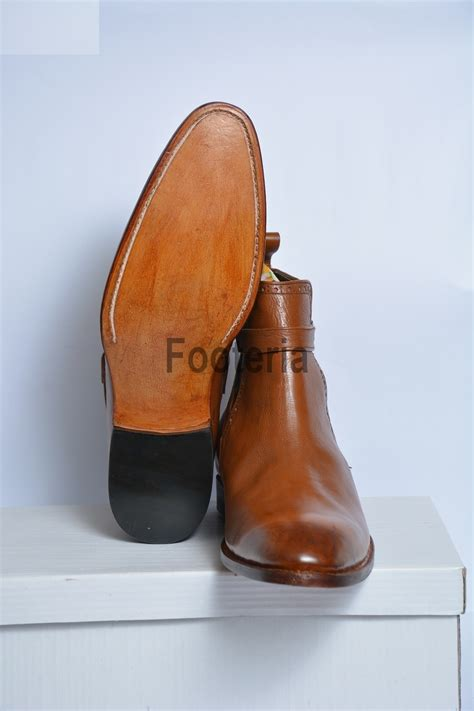 Handcrafted Leather Boots - handmade brown jodhpur boots leather boot for