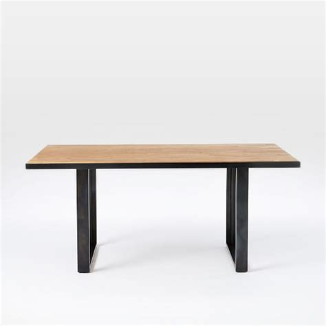 industrial oak steel dining table west elm