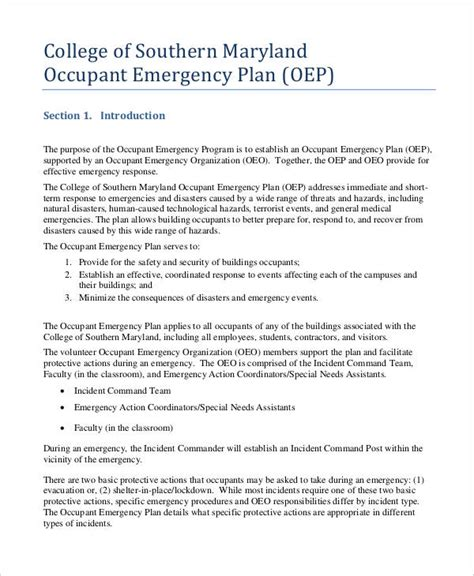 occupant emergency plan template 27 emergency plan exles