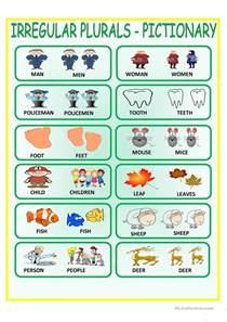 irregular plurals pictionary worksheet free esl